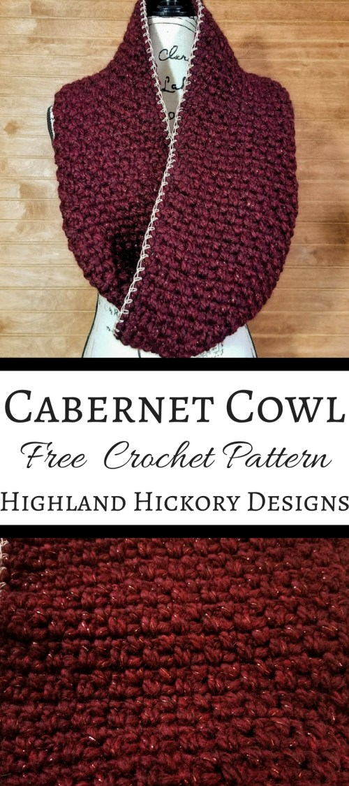 Crochet the Cabernet Cowl for your New Year's Eve party, other holiday party or for every day wear! It's super thick and warm, yet stylish. Perfect for charitable donations. The pattern can be customized to suit your desired length and/or width. The pattern is free, simple and works up in less than 2 hours!