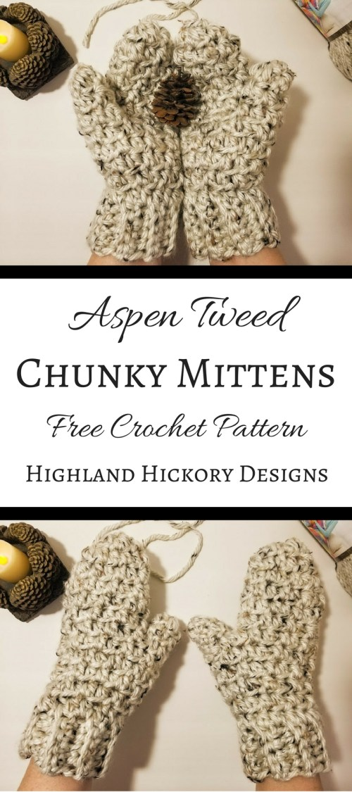 Aspen Tweed Mittens - Highland Hickory Designs