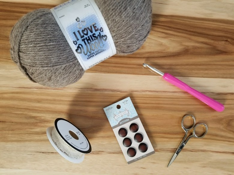 supplies needed for boot cuffs yarn lace buttons scissors and I hook