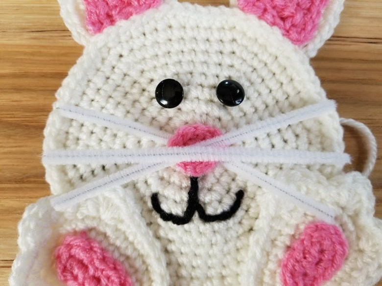 easter wreath - whiskers placement on bunny head applique