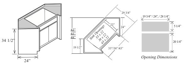 bsd42 kitchen diagonal sink base