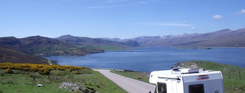 Campervan overlooking Loch Eribol
