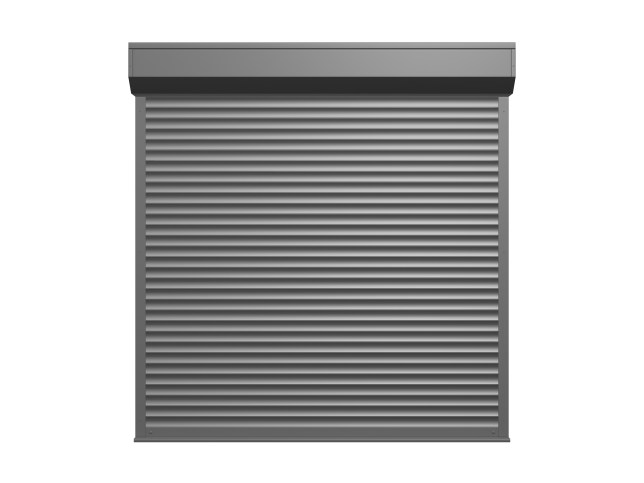 Steel shutter door, garage, isolated on white background.