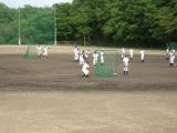 土が入れ替えられた、野球グランド。