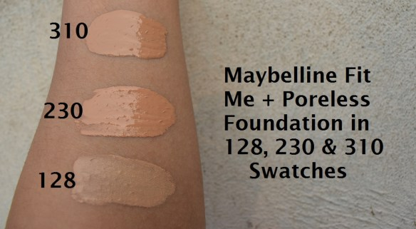 maybelline fit foundation 310 , 230, 128 swatches