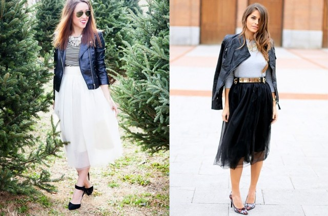 leather jackets with tulle
