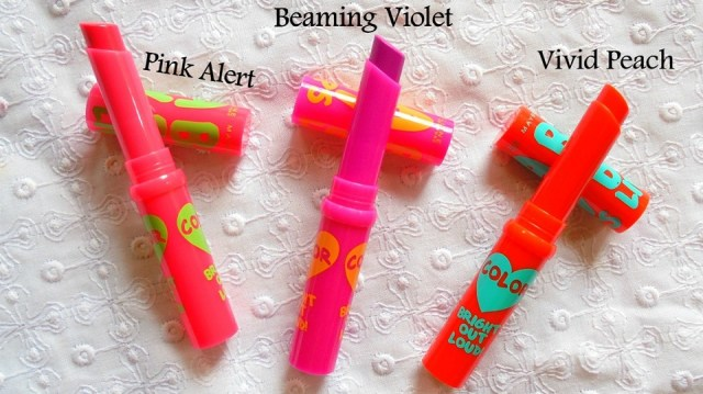 3Maybelline Baby Lips Bright Out Loud! Lip Balm Pink Alert, Vivid Peach & Beaming Violet
