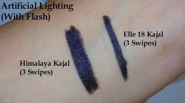 Elle 18 Eye Drama Kajal Bold Black VS Himalya Herbals Kajal - Swatch