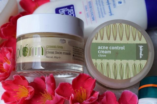 Best Skin Care Product For Acne Prone Skin - Plum Green Tea Clear Face Mask, FabIndia Acne Control Clove Cream