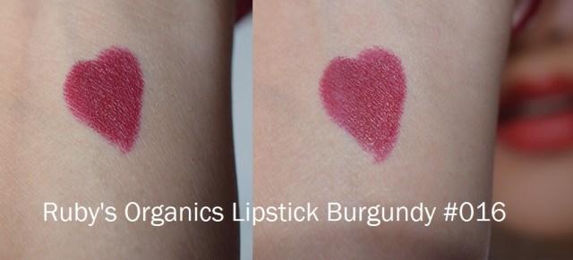 Ruby's Organics Lipsticks Burgundy 016 pigmentation