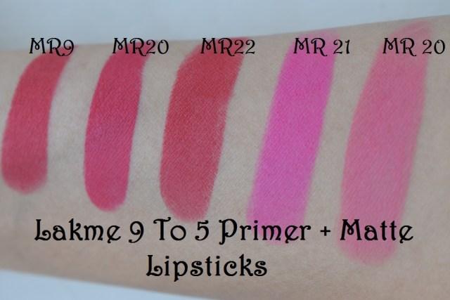 Lakme 9 to 5 Primer + Matte Lip Color - Swatches