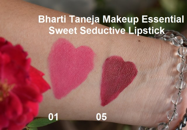 Bharti Taneja Makeup Essential Sweet seductive Lipstick 01, 05 Swatches