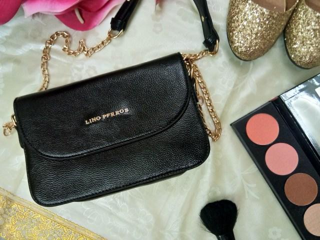 Lino Perros Black Leather Sling Bag