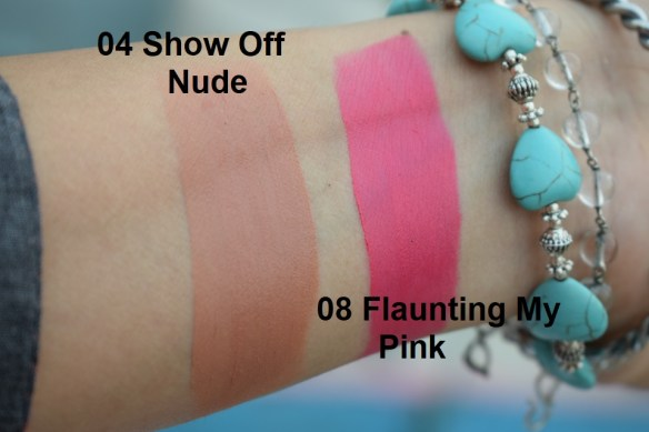 Maybelline Color Jolt Intense Lip Paint - 04 Show Off Nude, 08 Flaunting My Pink Swatches