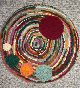"""""""Balloons""""; approx. 16"""" diameter; $40 clearance; Wool, recycled t-shirts, poly"""