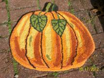 """""""Pumpkin""""; 20""""x21""""; all recycled t-shirts; $150 SALE!"""