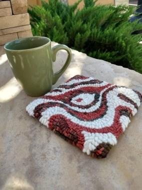 Hand-hooked mug rug set