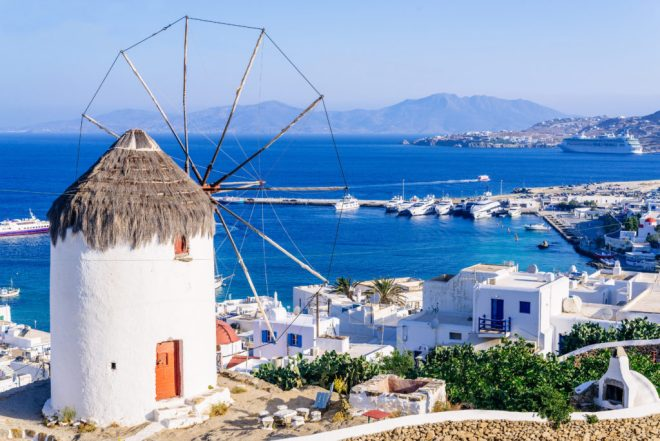 View of Mykonos and the famous windmill from above, Mykonos island, Cyclades, Greece