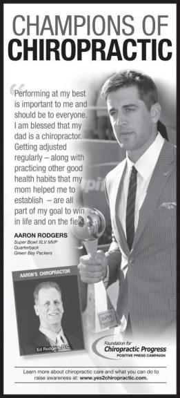 aaron rodgers recommends chiropractic from the sports chiropractor of the chippewa valley