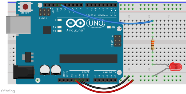 Breadboard with Arduino and LED