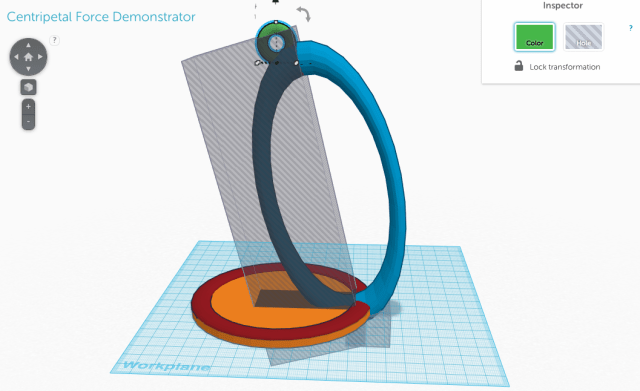 Image showing the sales necessary to use in Tinkercad to create the Centripetal Force Demonstrator