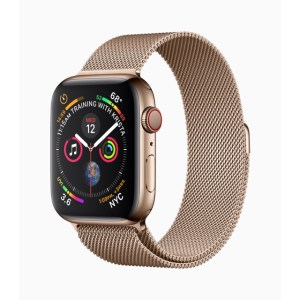 Apple Watch Series 4 in Gold mit gewebtem Metall-Armband