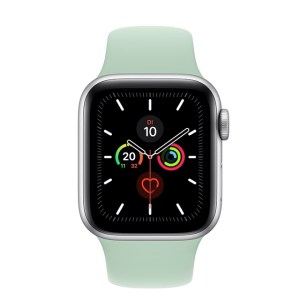 Apple Watch Series 5 in Silber mit Silikon-Armband