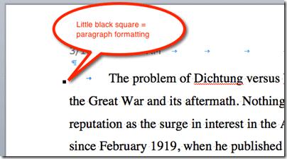 Little black square paragraph formatting