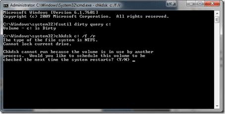 Run CHKDSK at next boot