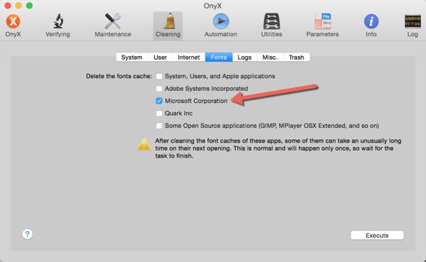 Fix Mac Office 2011 Crashing in Yosemite - Clear Microsoft Font Cache