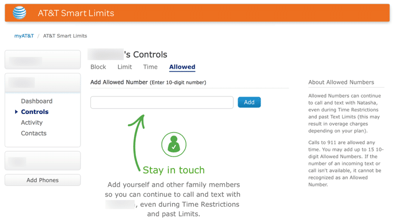 HTD AT&T Smart Limits - Whitelist Number