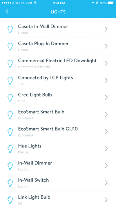 HTD Wink & Cree Connected LED Light Bulb - iOS light selection