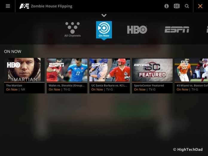 HighTechDad Sling TV - On Now on iPad