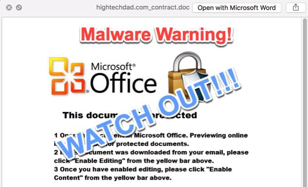 Malicious Word macro warning - watch out!