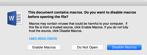 Malicious Word macro warning - disable macros