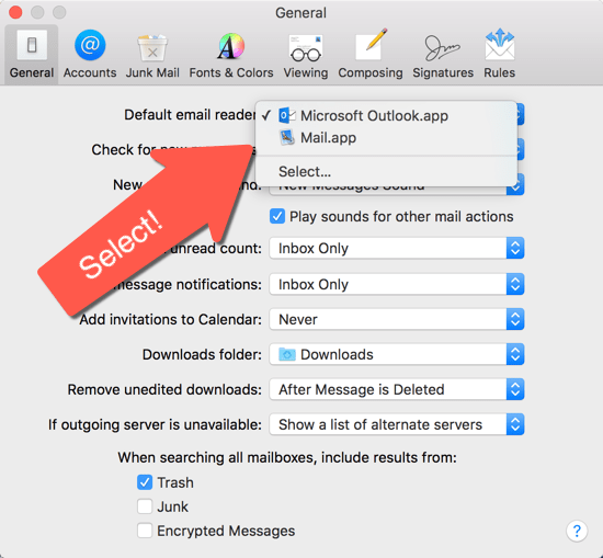 How to set the default email client in MacOS Sierra & El Capitan - set email in Mac Mail