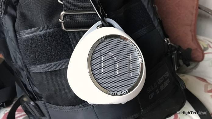 Monster SuperStar HotShot Bluetooth Speaker - on backpack