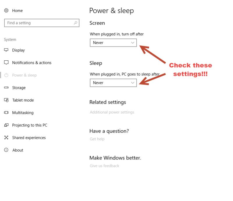 Power & Sleep settings