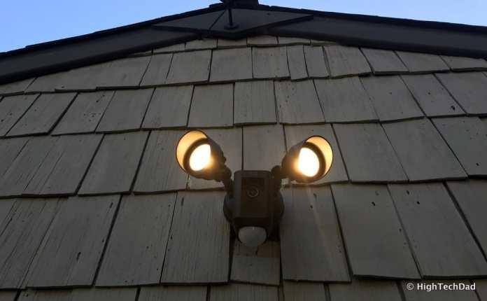 Ring Floodlight Cam - lit at night