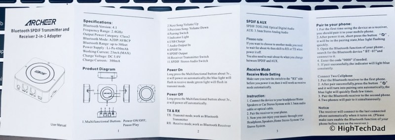 ARCHEER Bluetooth Transmitter & Receiver review - instructions #1