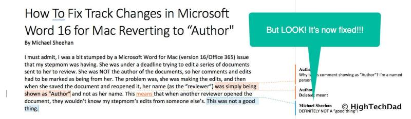 """HTD How to Fix Track Changes in Word for Mac reverting to """"Author"""" - fixed"""