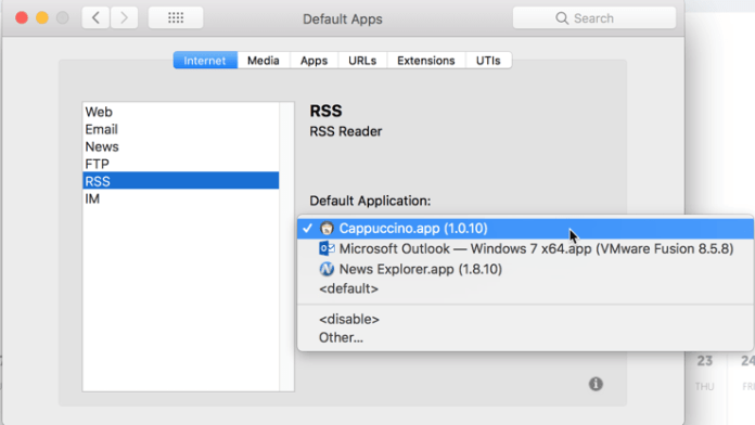 HighTechDad - How To set default application on Mac - RSS application