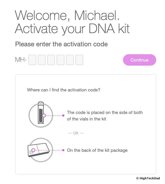 HTD MyHeritage DNA kit - activate your kit