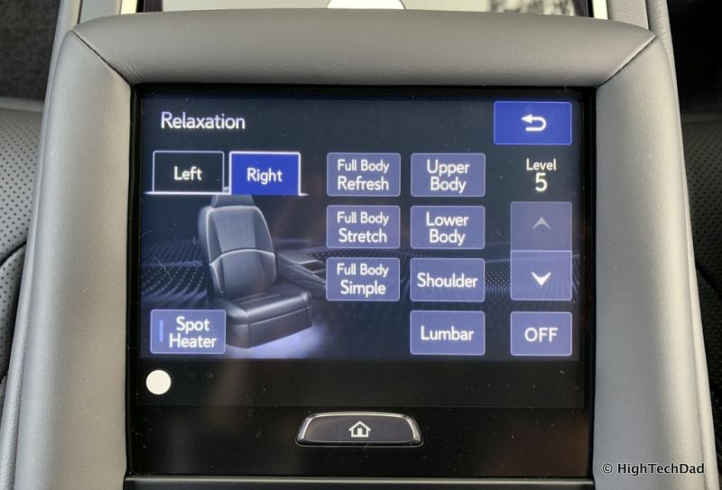 HighTechDad 2019 Lexus LS-500h review - rear seat massage controls