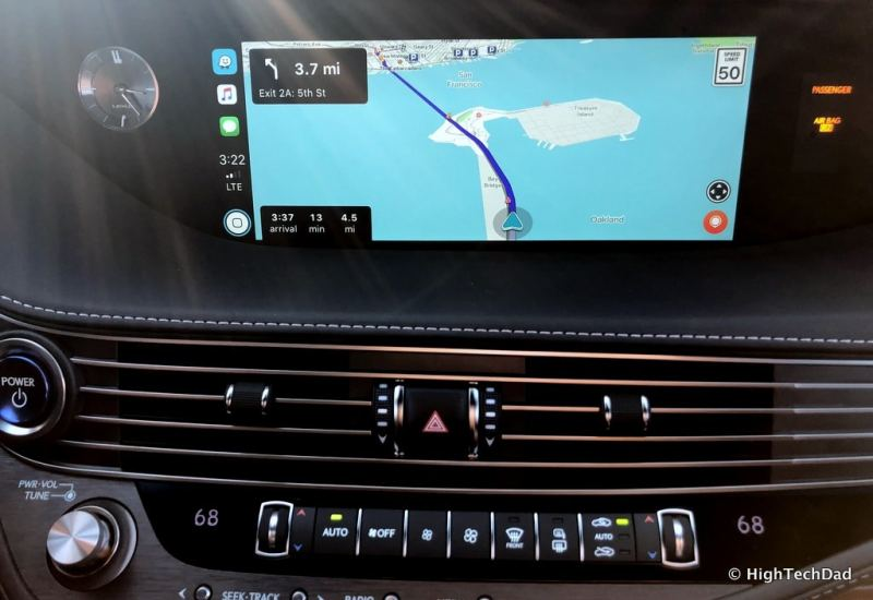 HighTechDad 2019 Lexus LS-500h review - Apple CarPlay with Waze running