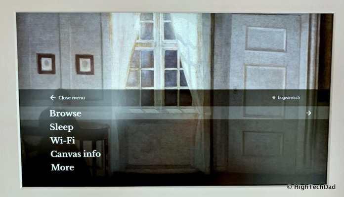 HighTechDad Meural Canvas Review - on-screen menus