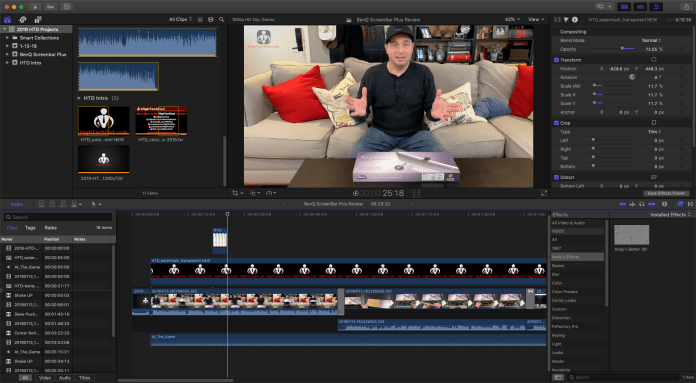 Editing a HighTechDad video in Apple Final Cut Pro