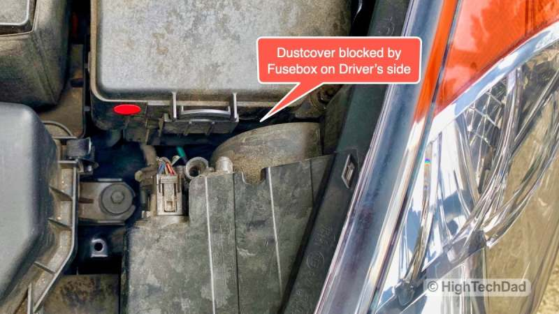 HighTechDad - How To Replace Headlight bulbs on 2013 Hyundai Elantra - driver's side bulb more difficult