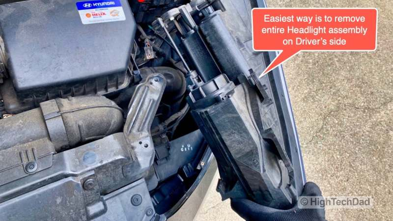 HighTechDad - How To Replace Headlight bulbs on 2013 Hyundai Elantra - remove entire headlight is easiest