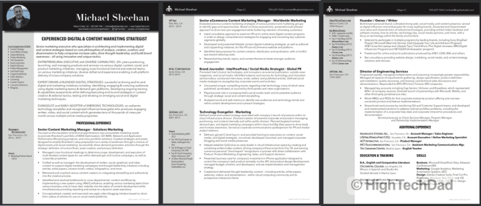 HighTechDad resume completely created within Adobe InDesign (part of Adobe Creative Cloud)